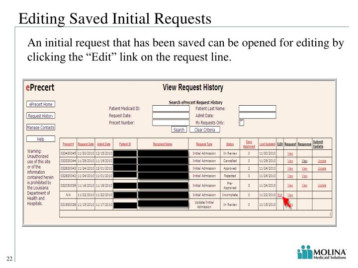 Editing Saved Initial Requests