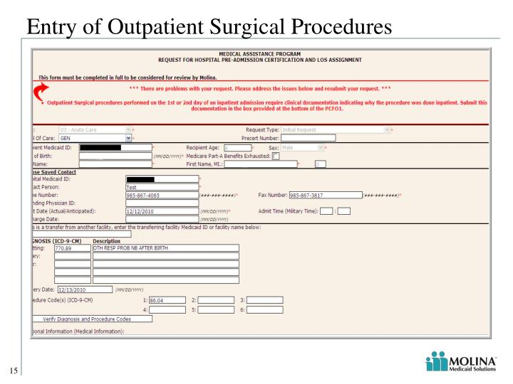Entry of Outpatient Surgical Procedures
