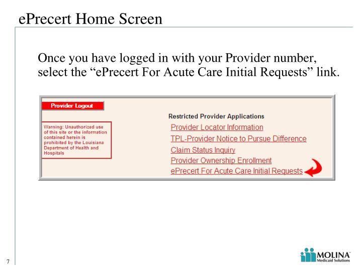 ePrecert Home Screen