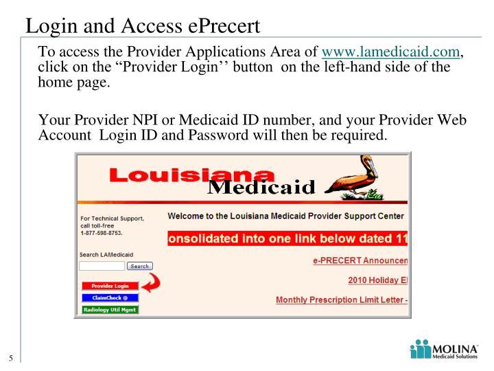 Login and Access ePrecert