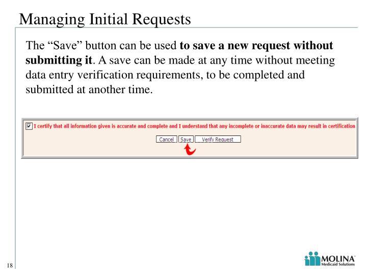 Managing Initial Requests