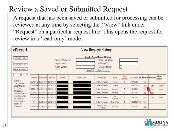 Review a Saved or Submitted Request