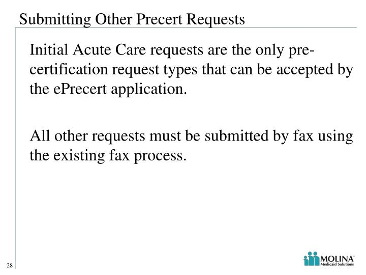 Submitting Other Precert Requests