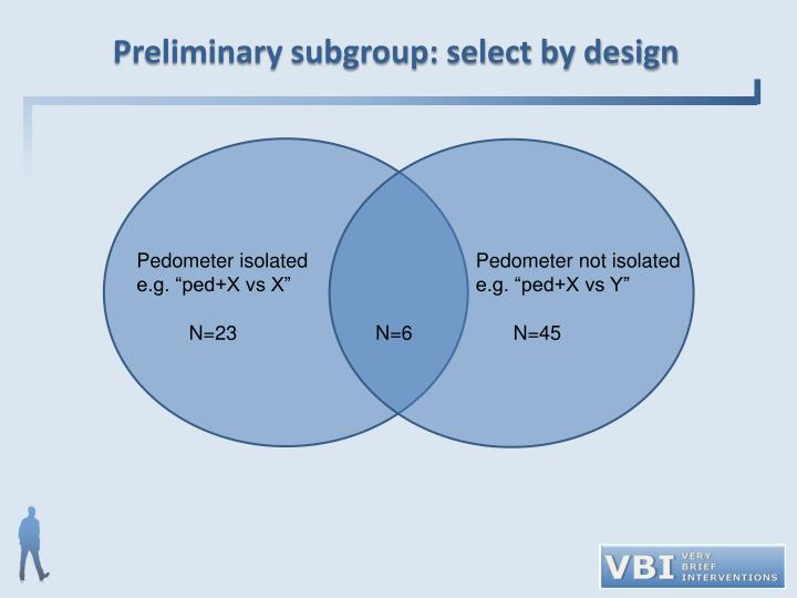 Preliminary subgroup: select by design