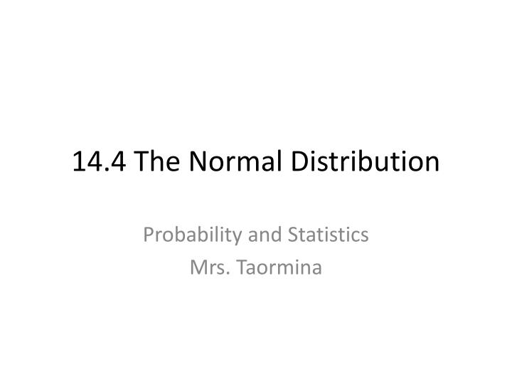 14 4 the normal distribution n.