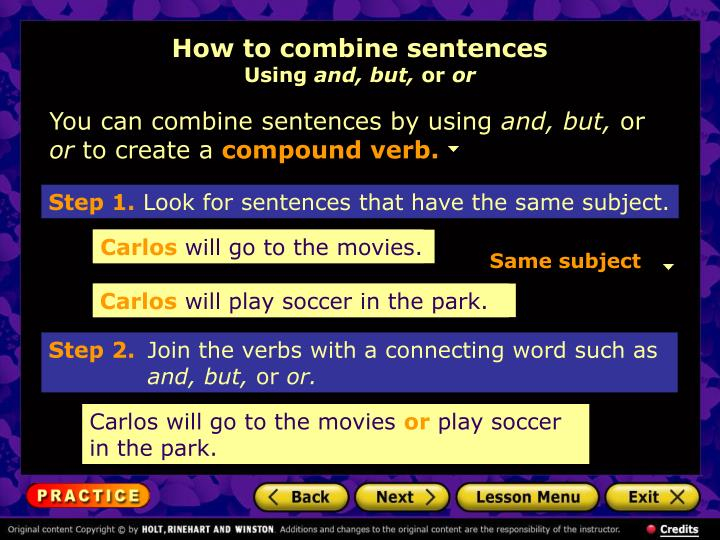 How to combine sentences