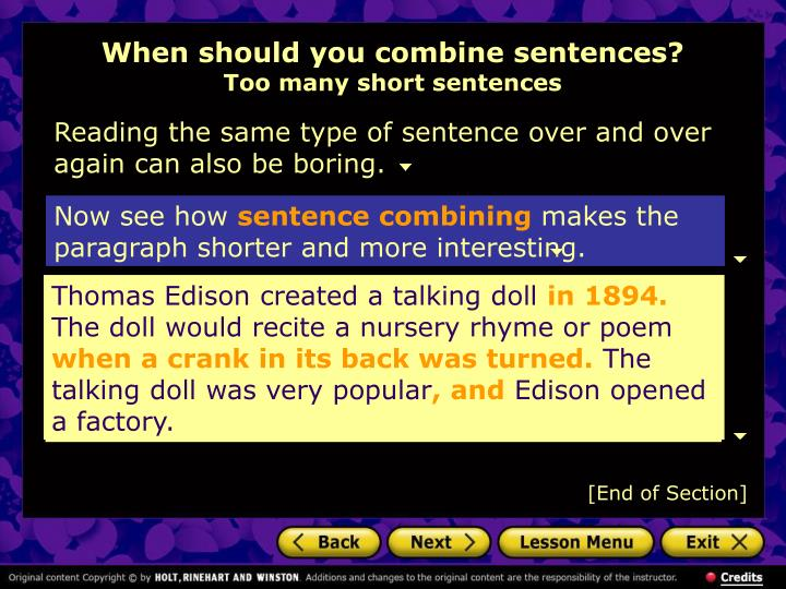 When should you combine sentences too many short sentences