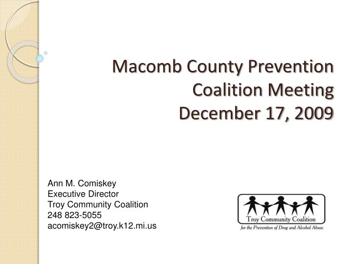 macomb county prevention coalition meeting december 17 2009