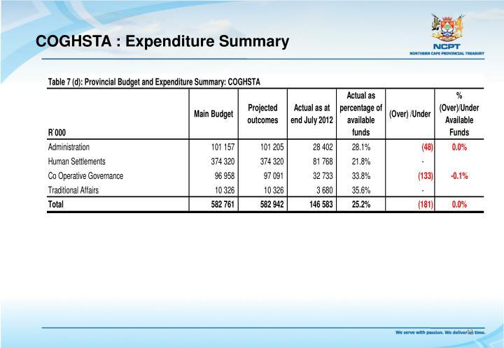 COGHSTA : Expenditure Summary