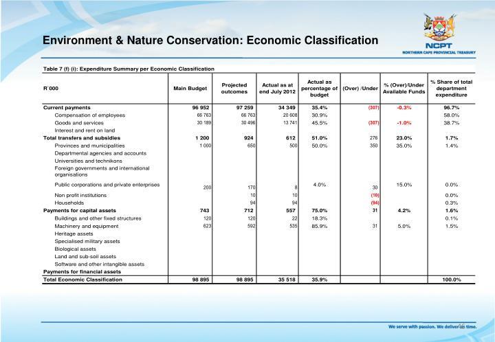 Environment & Nature Conservation: Economic Classification