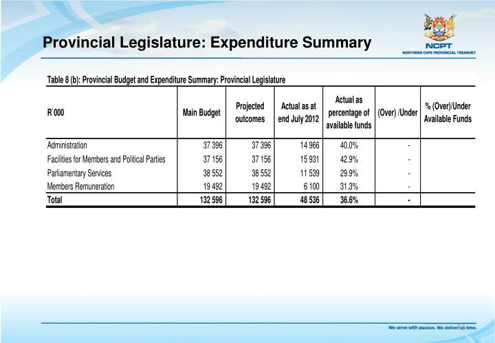 Provincial Legislature: Expenditure Summary