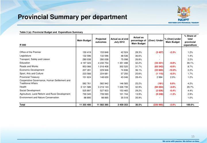 Provincial Summary per department