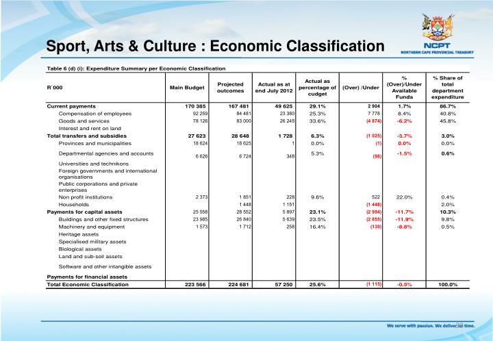 Sport, Arts & Culture : Economic Classification