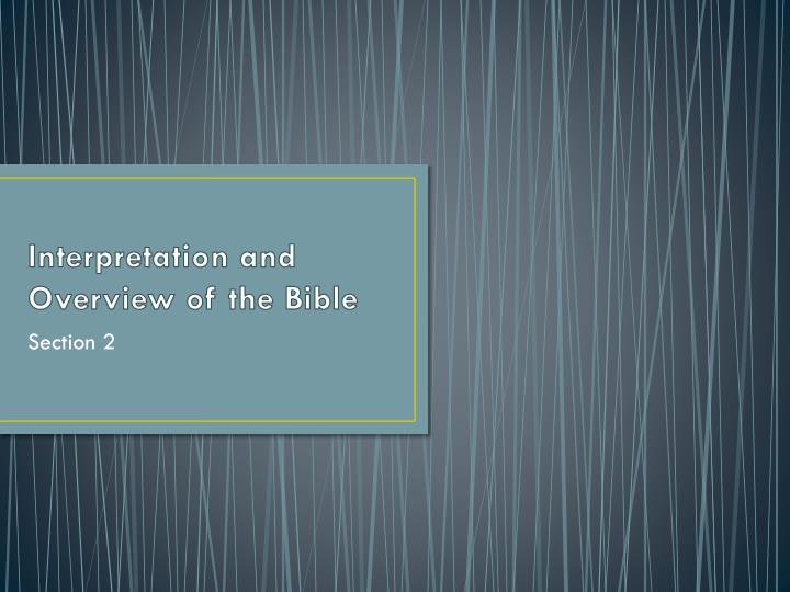 interpretation and overview of the bible n.