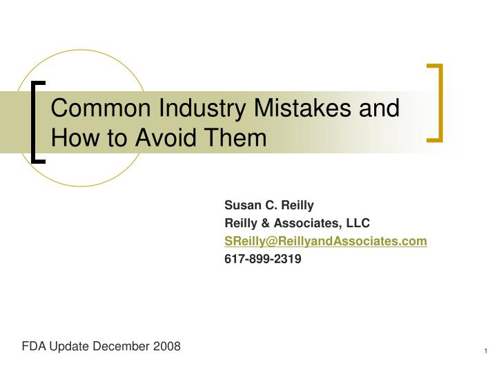 common industry mistakes and how to avoid them n.