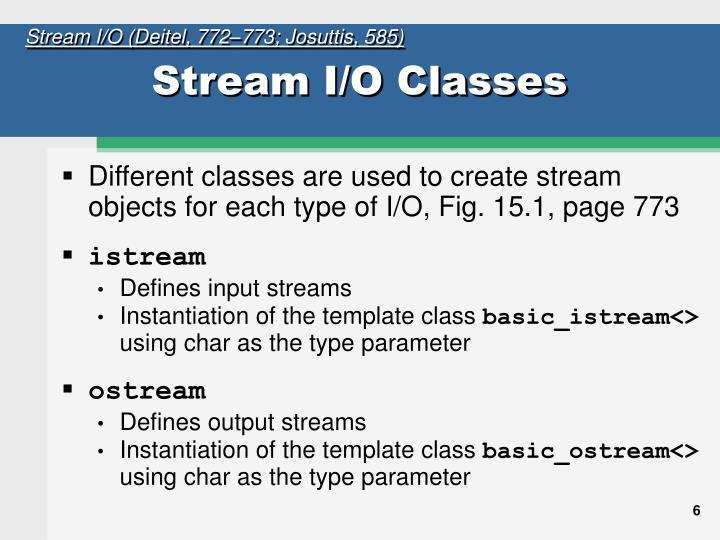 Stream I/O (Deitel, 772–773; Josuttis, 585)