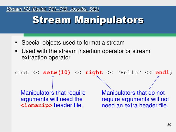 Manipulators that require arguments will need the