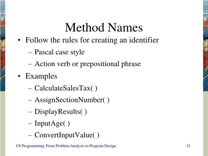 Method Names