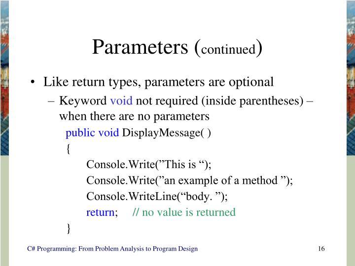 Parameters (