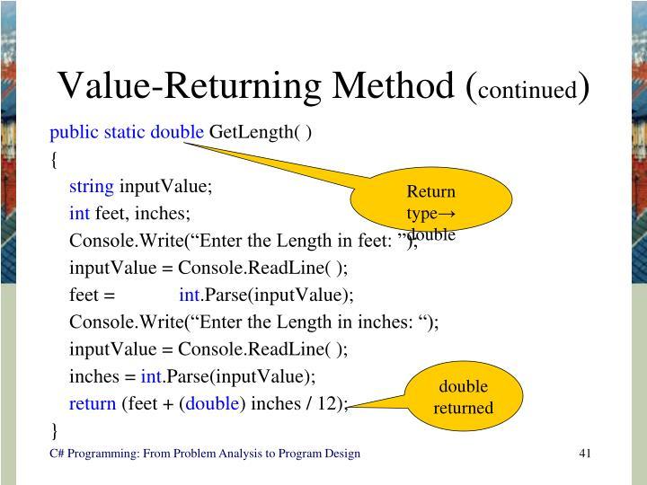 Value-Returning Method (