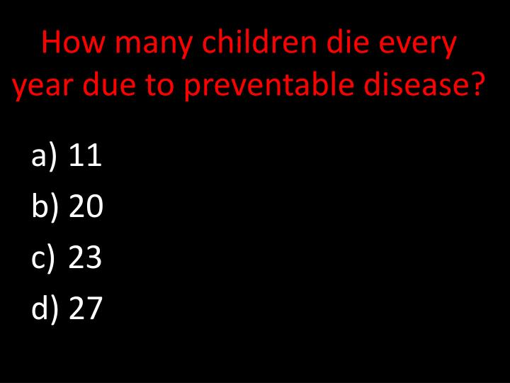 How many children die every year due to preventable disease?