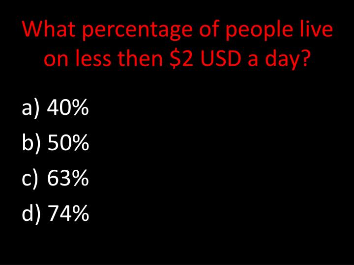 What percentage of people live on less then $2 USD a day?