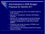 administration s 2006 budget proposal for section 811