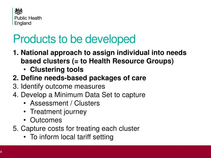 Products to be developed