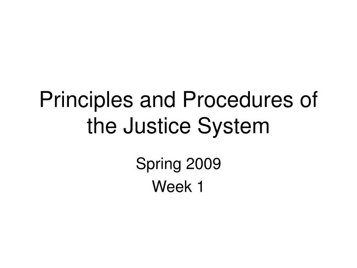 principles and procedures of the justice system n.
