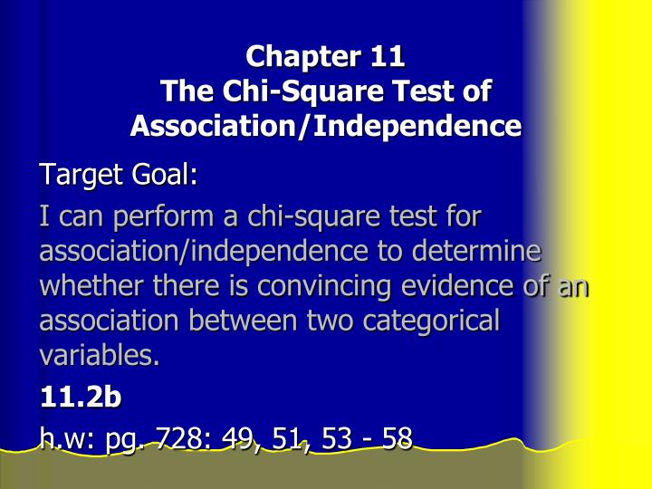 chapter 11 the chi square test of association independence n.
