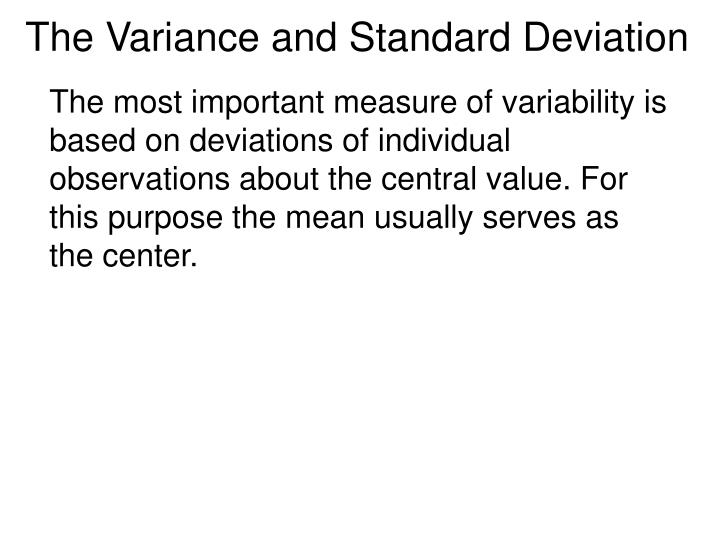 the variance and standard deviation n.