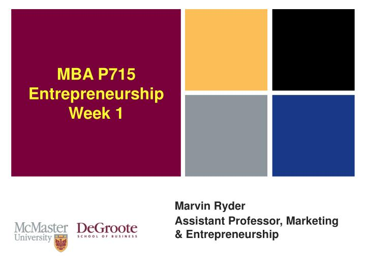 marvin ryder assistant professor marketing entrepreneurship n.