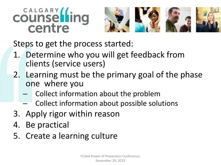 Steps to get the process started:
