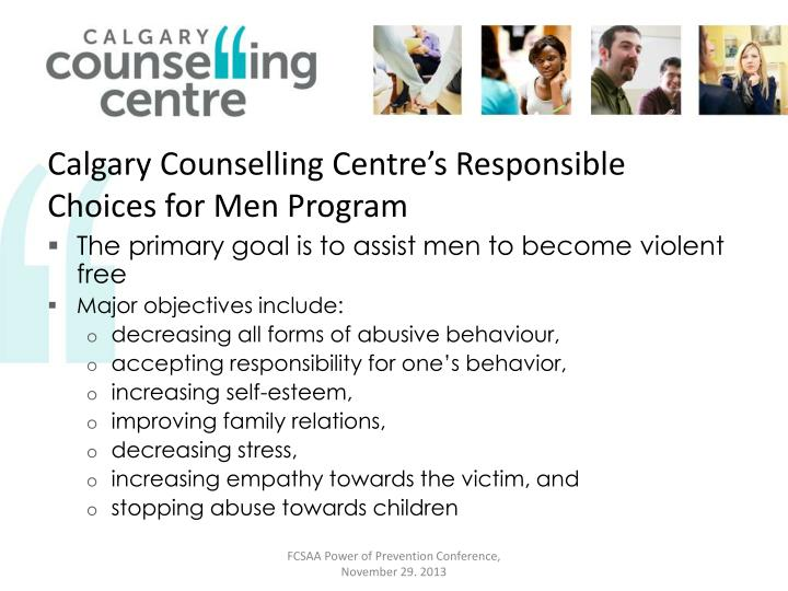 Calgary Counselling Centre's Responsible Choices for Men Program