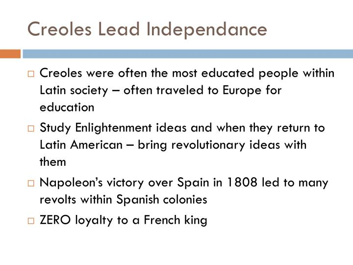 Creoles Lead Independance
