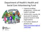 department of health s health and social care volunteering fund