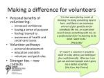 making a difference for volunteers