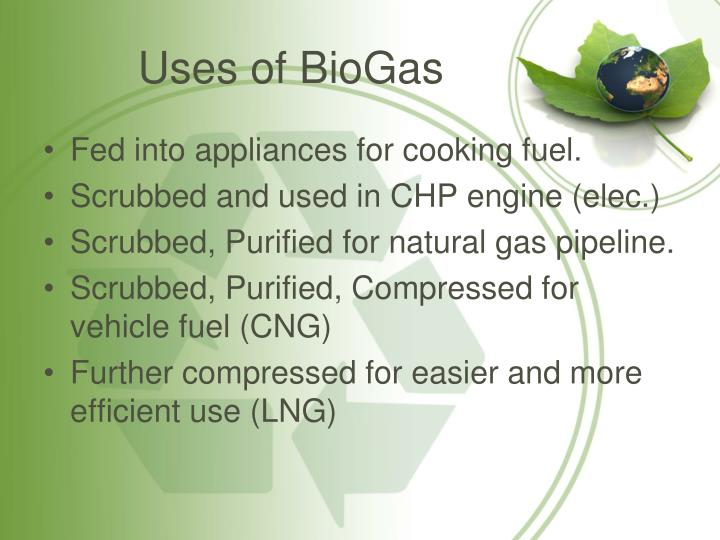 Uses of BioGas