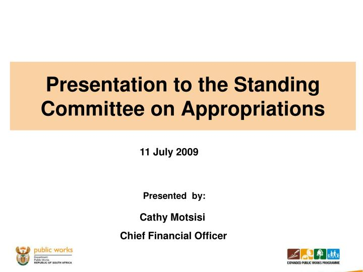 presentation to the standing committee on appropriations n.