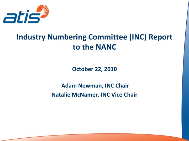 industry numbering committee inc report to the nanc n.