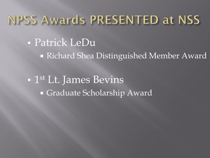 Npss awards presented at nss