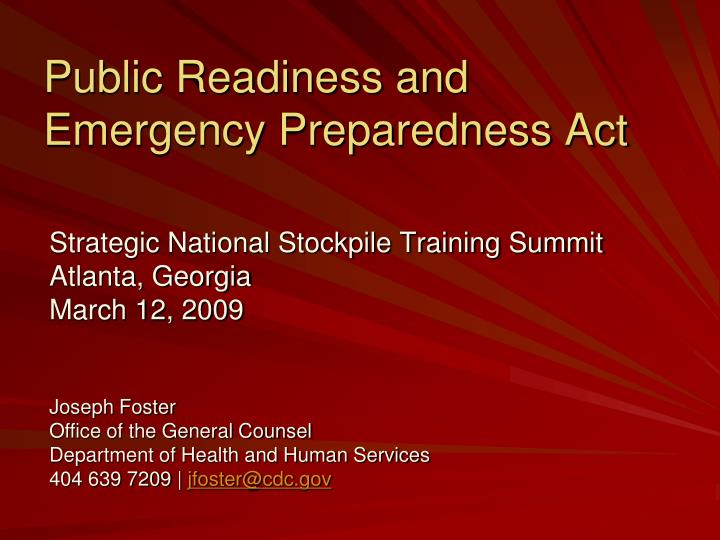 public readiness and emergency preparedness act n.