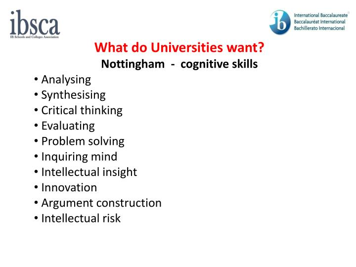 What do Universities want?