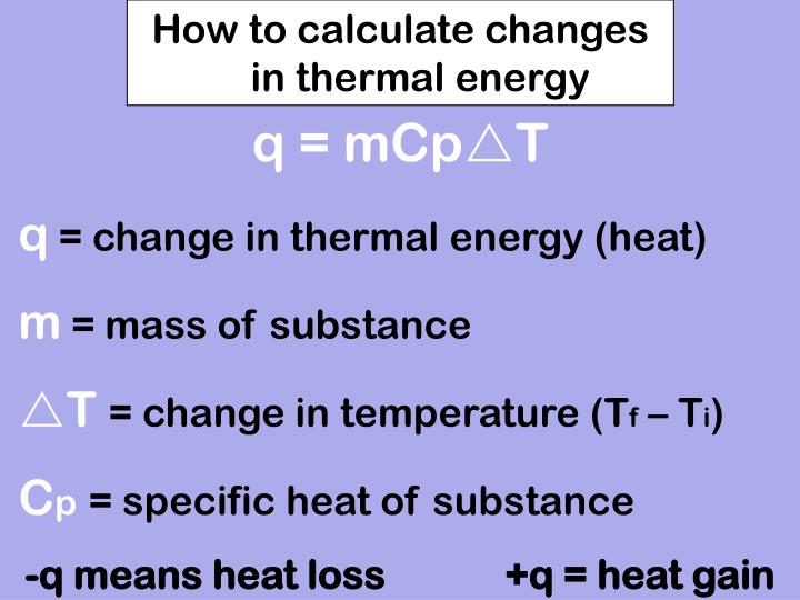 How to calculate changes in thermal energy