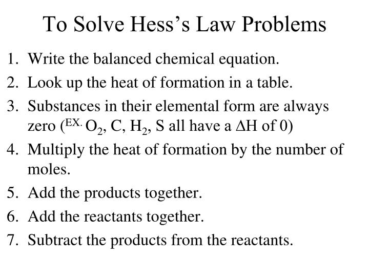 To Solve Hess's Law Problems