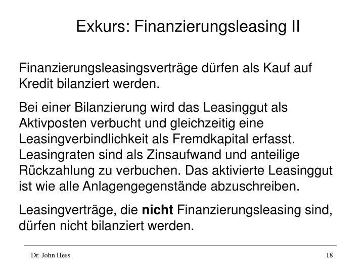 Exkurs: Finanzierungsleasing II