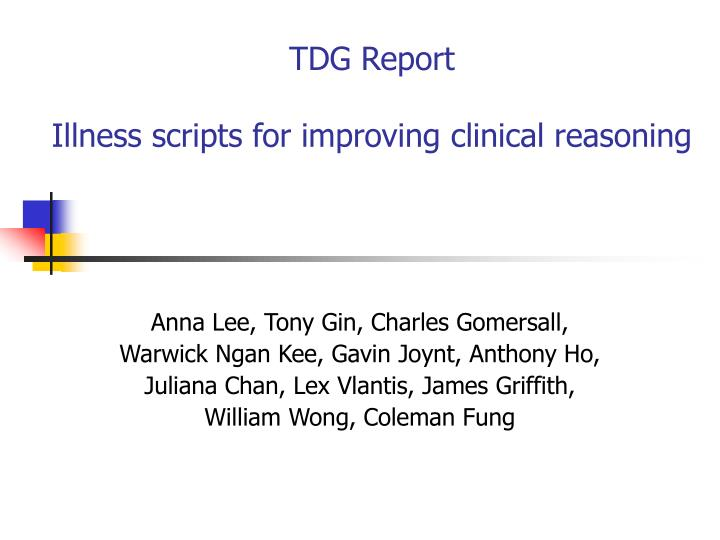 tdg report illness scripts for improving clinical reasoning n.