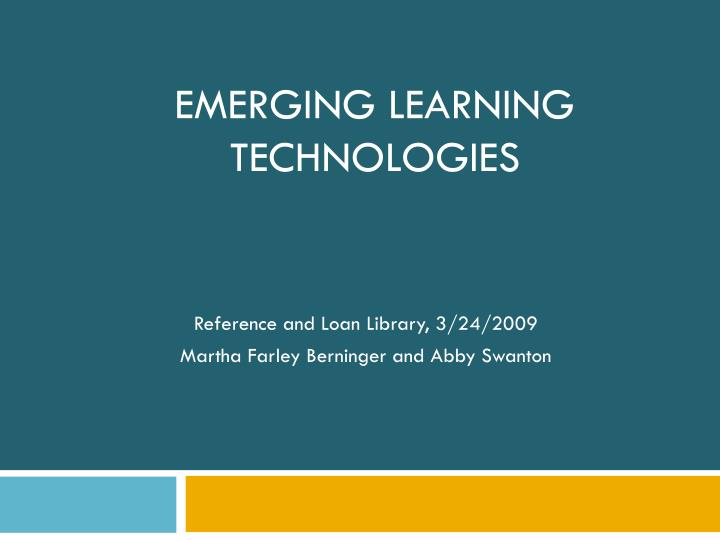 emerging learning technologies n.