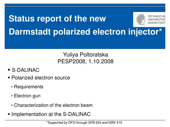 status report of the new darmstadt polarized electron injector n.