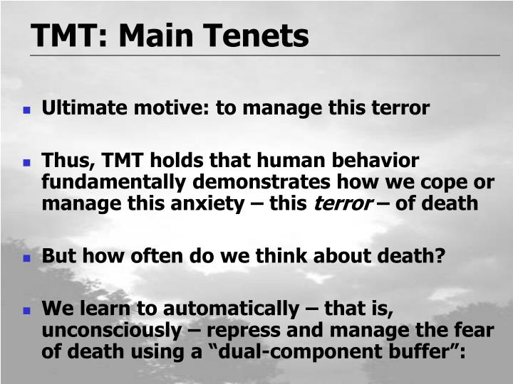 a summary of the terror management theory tmt Created date: 6/19/2012 11:11:09 am.
